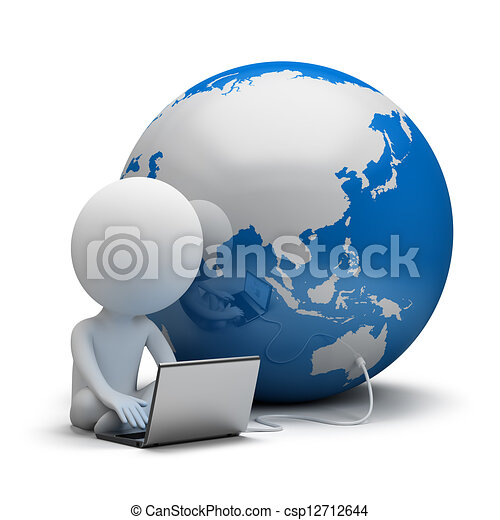 3d small people - global communication - csp12712644