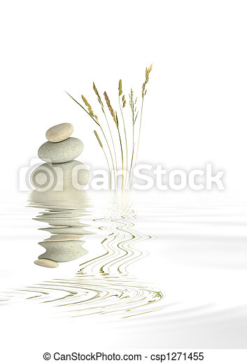 Zen Spa Stones and Natural Grass - csp1271455