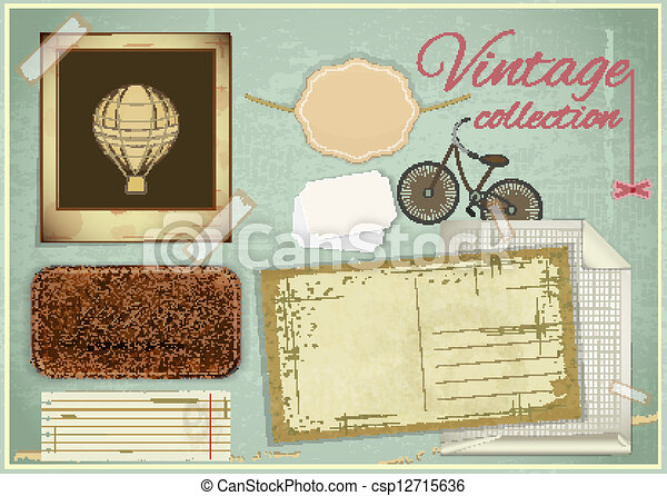 scrapbooking set - old paper, photo fram - csp12715636