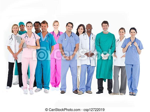 enfermeiras, médico, equipe, cirurgiões, doutores, sorrindo - csp12722019