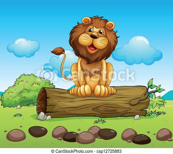 Um, Feliz, Leão, ligado, Um, tronco, de, Um, árvore - csp12725883
