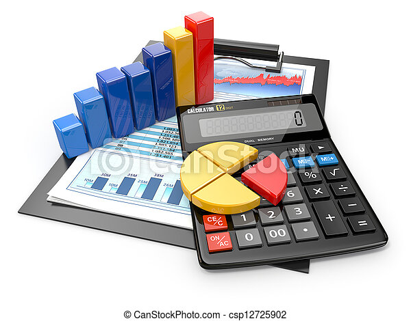Business analytics. Calculator and  financial reports. - csp12725902