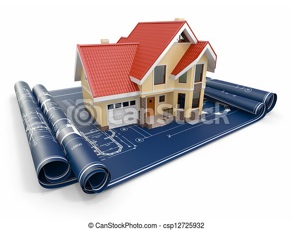 Residential house on architect blueprints. Housing project. - csp12725932