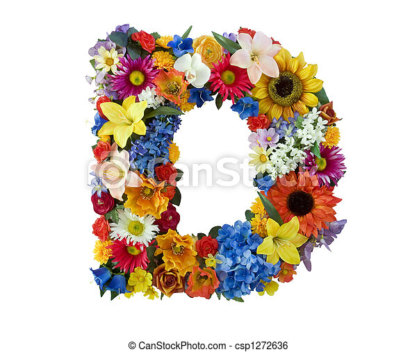 Letter D made of flowers isolated on white background