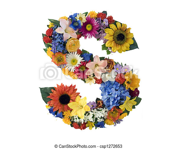 Letter S made of flowers isolated on white background