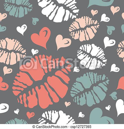 Kiss print and heart pattern - csp12727393
