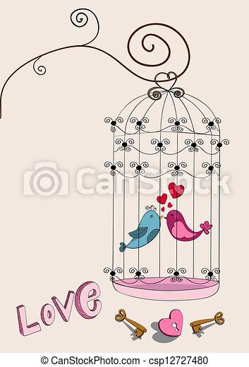 Valentine couple bird love - csp12727480
