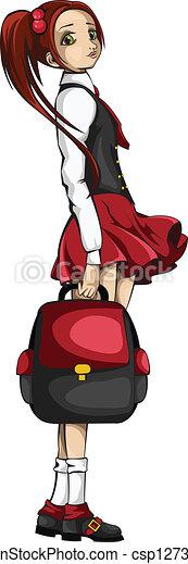 Vectors Illustration of Schoolgirl vector csp12731471 - Search ...