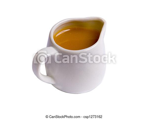 Sweet caramel sauce in white sauce-boat on white ground - csp1273162