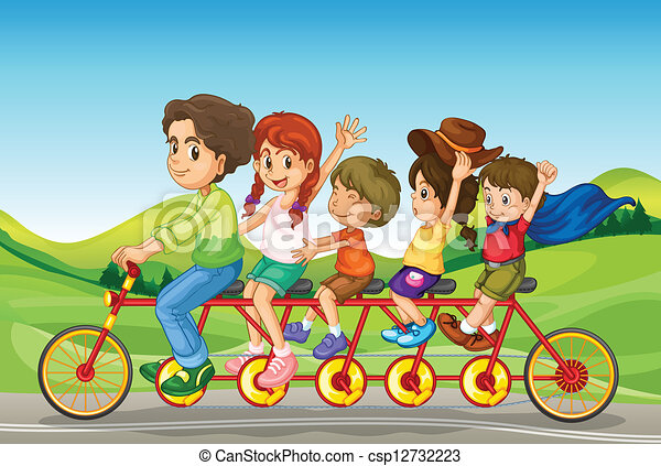 Kids riding a bicycle - csp12732223