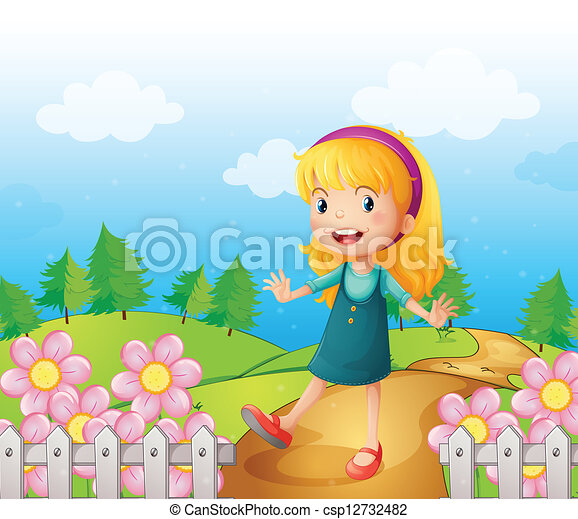 A young lady in the garden - csp12732482