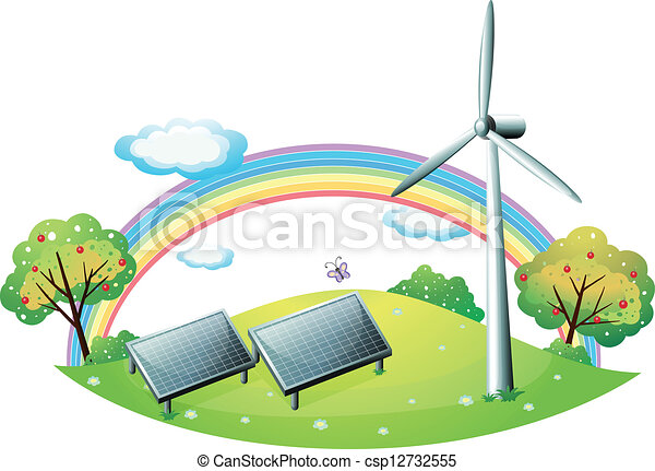 Clipart Vector of A windmill and solar energy panels - Illustration of ...