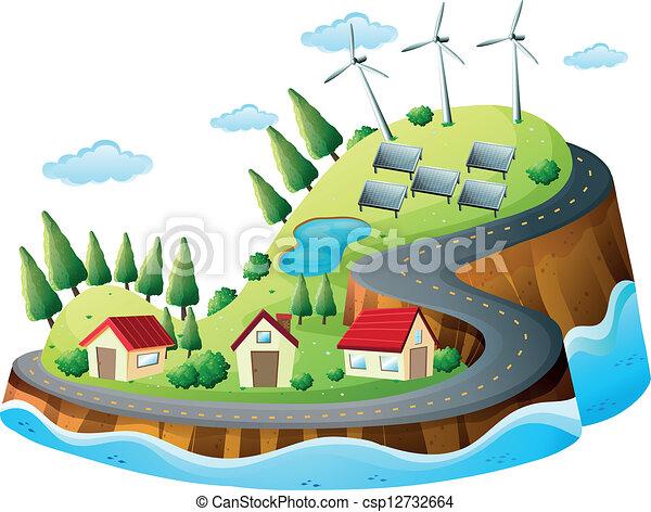 Houses, vanes and solar energy - csp12732664
