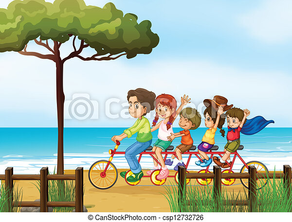 Happy kids and bicycle - csp12732726