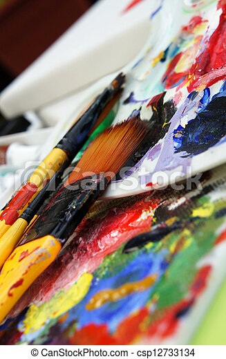 Art palette and paintbrushes  - csp12733134