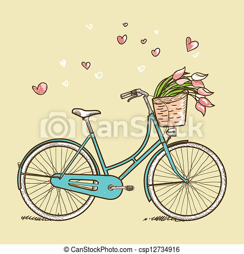 Vintage bicycle with flowers - csp12734916