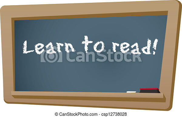 Vector Illustration Of Learn To Read Chalkboard Learn To