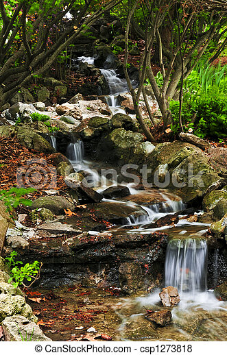 Creek with waterfalls - csp1273818