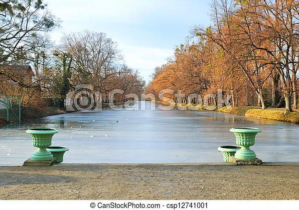 Historic Vases and Frozen Pond - csp12741001