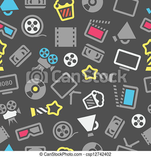 Cinema web silhouettes seamless pattern - csp12742402