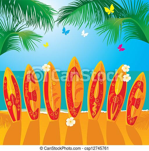 Clip art vector of summer holiday card surf boards with - Dibujos para tablas de surf ...
