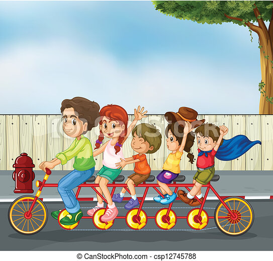 Kids on the bicycle - csp12745788