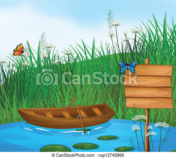 Boat Scenery Drawing a Wooden Boat in The River
