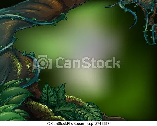 A big trunk of a tree with algae - csp12745887
