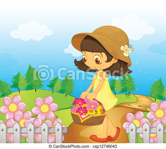 A girl collecting flowers - csp12746043