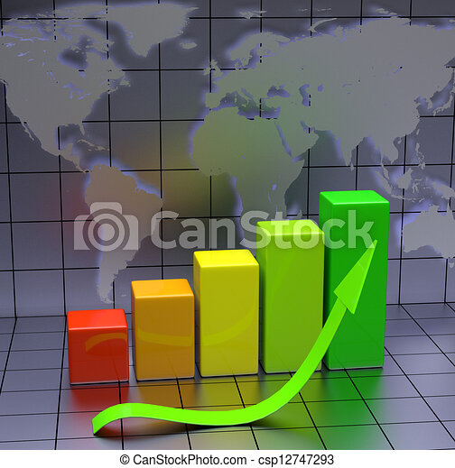 Business Chart With Green Arrow - csp12747293