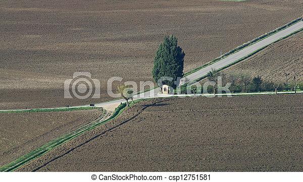 Cross roads, rural chapel - csp12751581