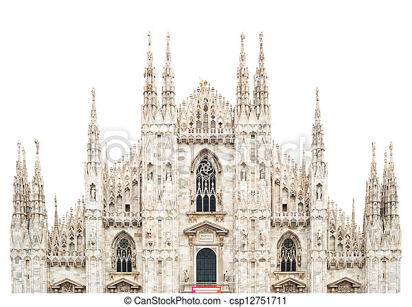 Milan Gothic Cathedral Dome Landmark upper front side isolated under a white sky. Italy, Europe. - csp12751711