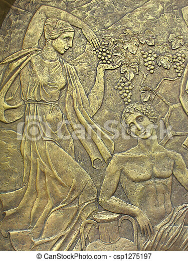 Copper bas-relief on the basis of ancient Greek myths
