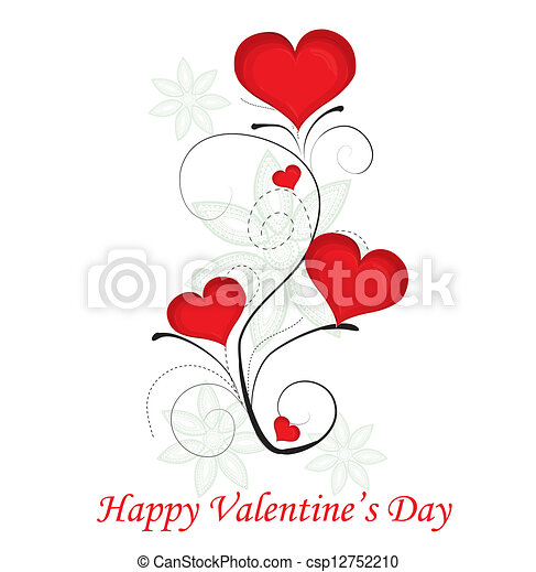 red valentine day heart background. Vector illustration. - csp12752210