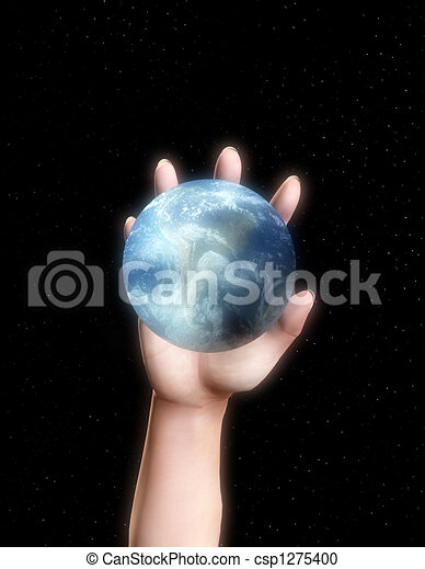Hand About To Grab Earth - csp1275400