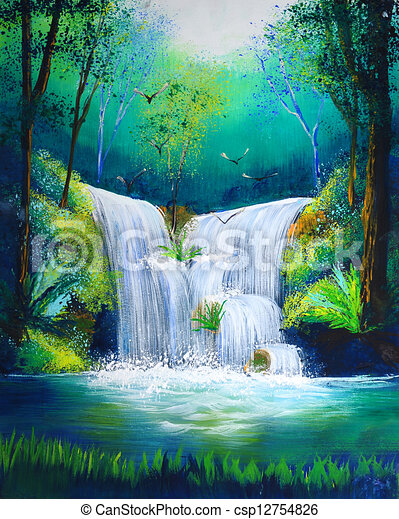 painting of waterfall - csp12754826