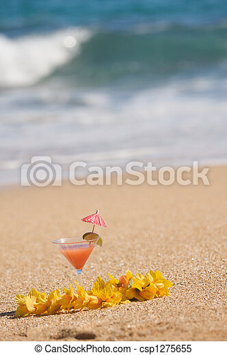 Tropical Drink on Beach Shoreline - csp1275655