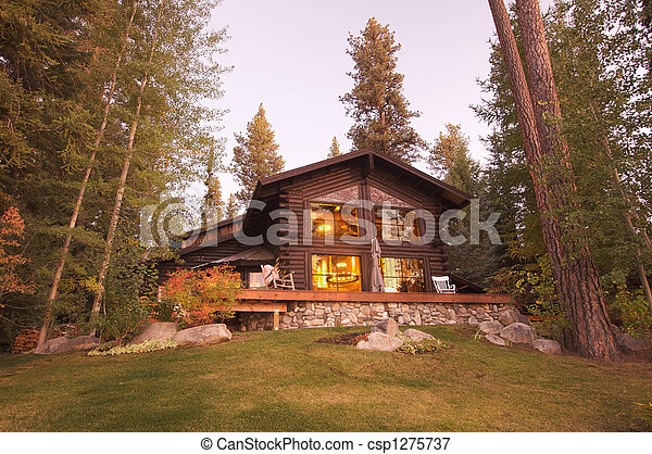 Beautiful Log Cabin Exterior - csp1275737