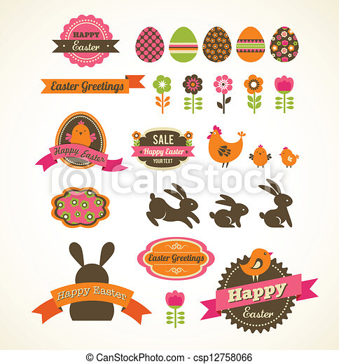 Set of easter vintage elements, banner, labels and frames - csp12758066
