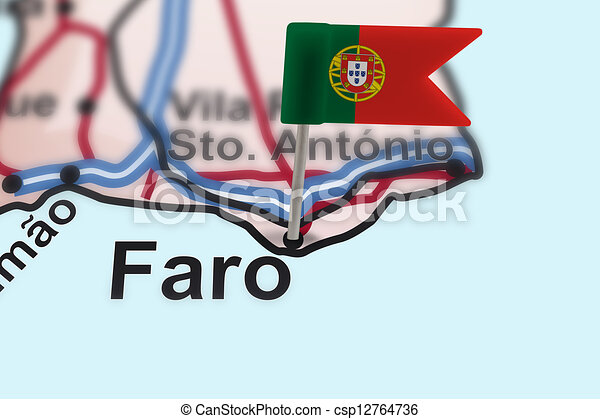 pin with flag of Portugal in Faro - csp12764736
