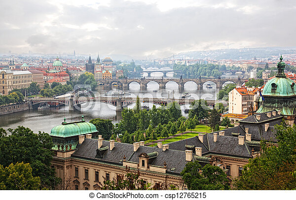 Prague, view of the Vltava River and bridges in a morning fog - csp12765215
