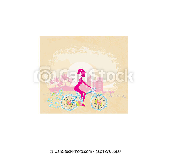 Cycling Poster with silhouette Girl - csp12765560