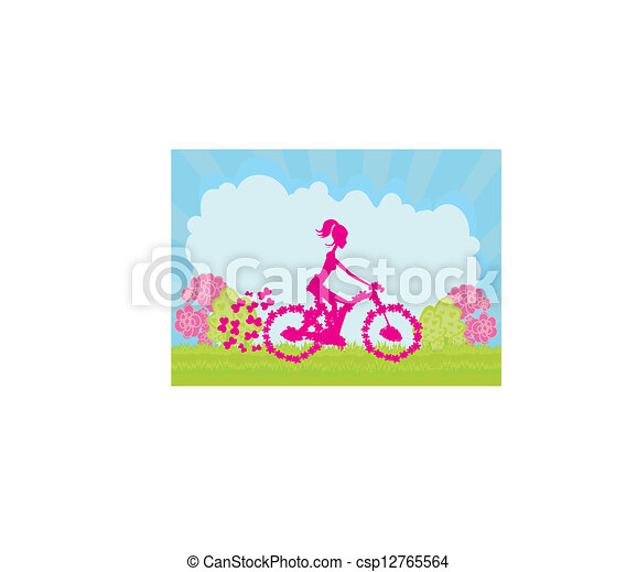 Cycling Poster with silhouette Girl  - csp12765564
