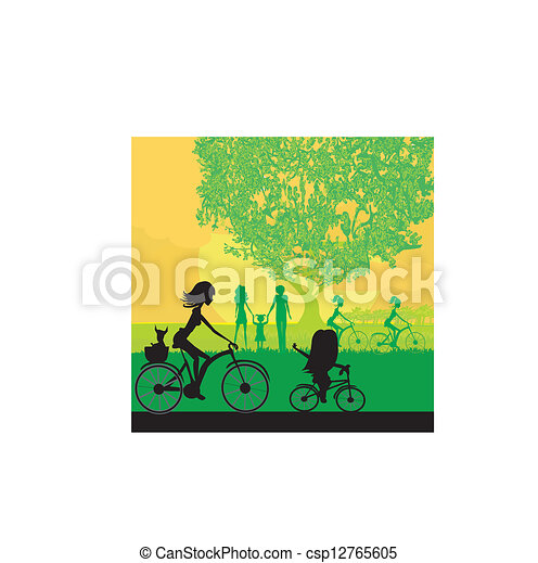 Mother and daughter biking in the park - csp12765605