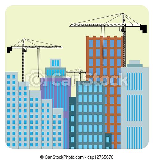 Ilustraciones vectoriales de construcci n edificios for Videos de construccion de edificios