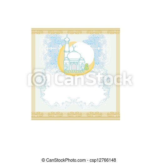 Vector - artistic pattern background with moon and mosque - stock ...