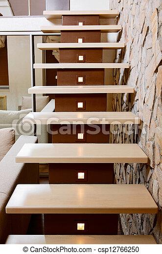 images de moderne style escalier pierre taille mur int rieur csp12766250 recherchez. Black Bedroom Furniture Sets. Home Design Ideas
