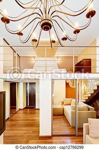 stock fotografien von stil modern wohnzimmer inneneinrichtung kronleuchter csp12766299. Black Bedroom Furniture Sets. Home Design Ideas
