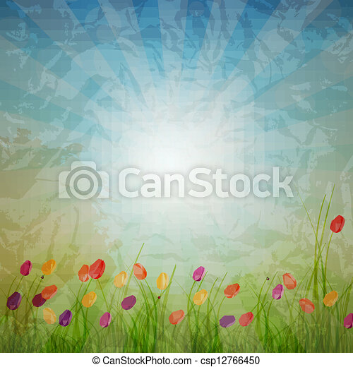 Summer Abstract Background with grass and tulips against sunny sky. Vector illustration. - csp12766450