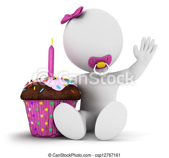 3d white people baby girl birthday - csp12767161